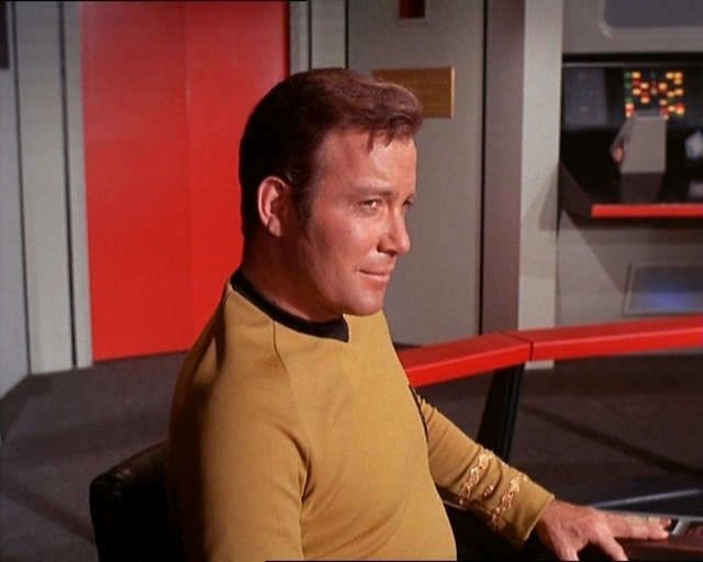 Why is this man smiling? Duh! Because he's Capt. James T. Kirk!