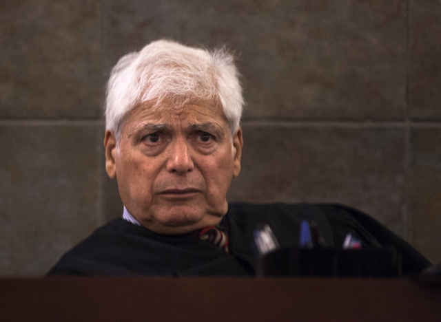 Senior District Court Judge Joseph Bonaventure during arraignment for Scott Carmitchel  Regional Justice Center on Wednesday, July 30, 2014. Carmitchel is facing charges of battery, grand larceny, ...