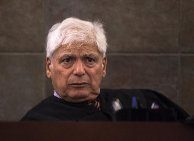 Senior District Court Judge Joseph Bonaventure during arraignment for Scott Carmitchel  Regional Justice Center on Wednesday, July 30, 2014. Carmitchel is facing charges of battery, grand larceny, ...