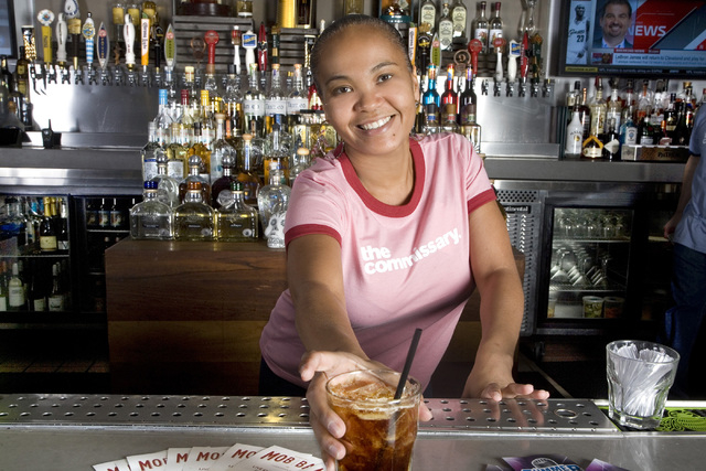 Angel Stone, Bartender, serves a cold drink at The Commissary restaurant located at 206 N. Third St. in Las Vegas on Friday, July 11, 2014. (Jeferson Applegate/Las Vegas Review-Journal)