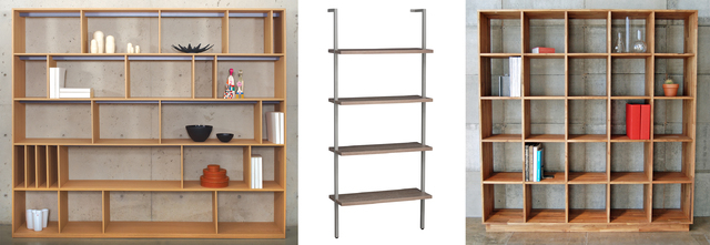 Courtesy Bensen; CB2; Mash Studios For 2Modern For a large collection of books, the Format open bookcase by Bensen comes in multiple sizes and finishes (left); for a tiny room, CB2s Helix taupe bo ...
