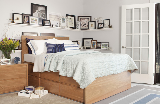 Courtesy UrbanGreen Furniture The Thompson queen storage bed, made in Brooklyn by UrbanGreen, features 12 drawers.