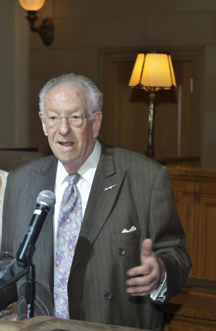 Former Las Vegas Mayor Oscar Goodman speaks during a 30th anniversary celebration for the Las Vegas Business Press at the Mob Museum at 300 E. Stewart Ave. in Las Vegas on Thursday, June 26, 2014. ...