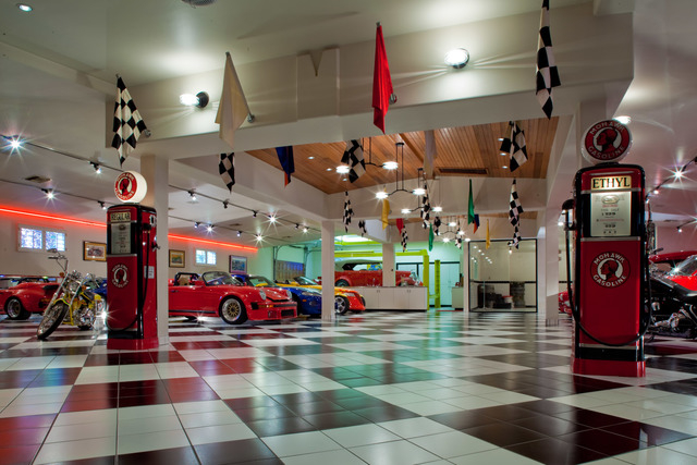 Courtesy photo Theestate features a car showroom that can house 20 cars. It has a work area with a hydrolic lift, gas station and car wash. Designed with a 1950s sockhop theme, it's often used for ...
