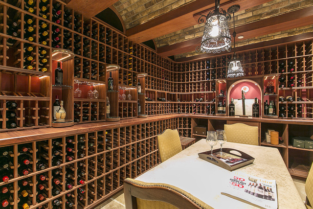 Courtesy photo  The basement level includes a wine cellar with wine racks handmade from Malaysian mahogany that can hold 2,880 bottles of wine. The wine storage area is independently climate-contr ...