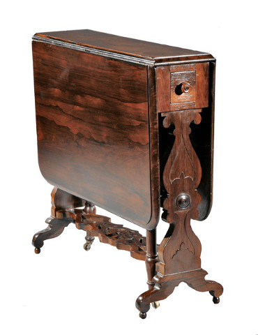 Cowles Syndicate Inc. J. and J.W. Meeks of New York City made this classical drop-leaf table about 1840. It has a stenciled label in the drawer with the address of the workshop from 1836 to 1855.  ...