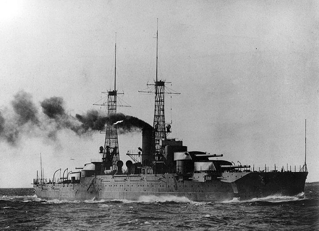 The USS Nevada (BB-36) during her running trials, circa early 1916. (Courtesy U.S. Navy)