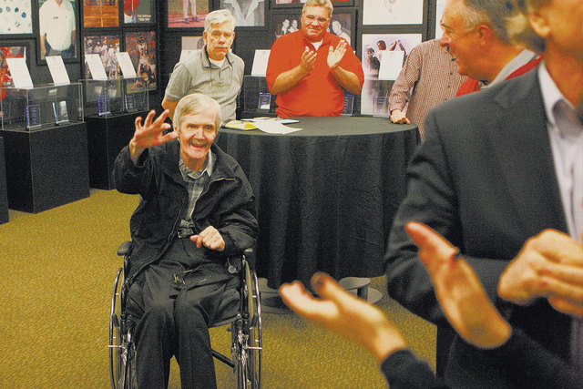 Former NFL quarterback David Humm is applauded at the Feb. 8 rededication ceremony for the new Southern Nevada Sports Hall of Fame location at Findlay Toyota in Henderson. Humm, the hall's first i ...
