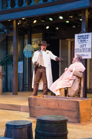 Jonathan Smoots (left) as Solinus and Roderick Peeples as Egeon in the Utah Shakespeare Festival's 2014 production of The Comedy of Errors. (Photo by Karl Hugh. Copyright Utah Shakespeare Festiv ...
