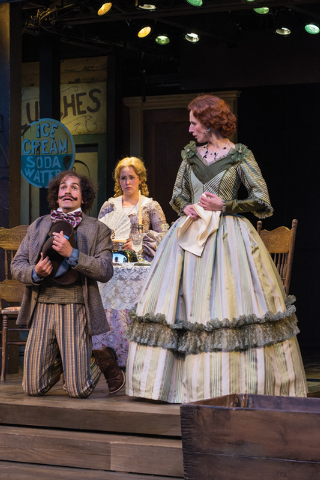 Misha Fristensky (left) as Dromio of Ephesus, Eva Balistrieri as Luciana, and Cassandra Bissell as Adriana in the Utah Shakespeare Festival's 2014 production of The Comedy of Errors. (Photo by K ...