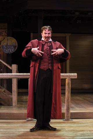 John G. Preston as Doctor Pinch in the Utah Shakespeare Festival's 2014 production of The Comedy of Errors. (Photo by Karl Hugh. Copyright Utah Shakespeare Festival 2014.)