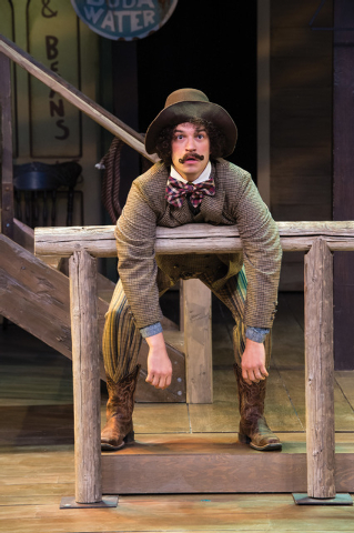 Aaron Galligan-Stierle as Dromio of Syracuse in the Utah Shakespeare Festival's 2014 production of The Comedy of Errors. (Photo by Karl Hugh. Copyright Utah Shakespeare Festival 2014.)
