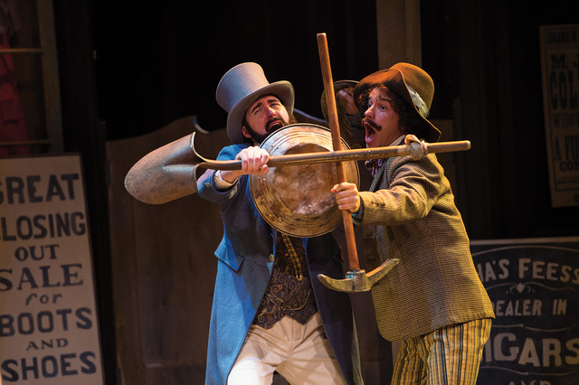 Chris Amos (left) as Antipholus of Syracuse and Aaron Galligan-Stierle as Dromio of Syracuse in the Utah Shakespeare Festival's 2014 production of The Comedy of Errors. (Photo by Karl Hugh. Copy ...