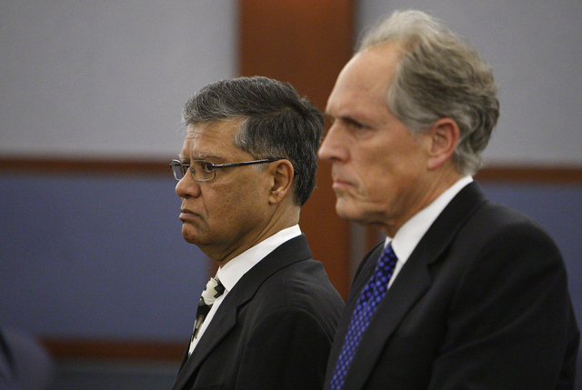 Dr. Dipak Desai, left, appears with his attorney Richard Wright in court in Las Vegas Friday, June 11, 2010. (JOHN LOCHER/LAS VEGAS REVIEW-JOURNAL)