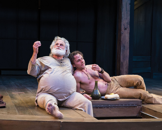 Henry Woronicz (left) as Sir John Falstaff and Sam Ashdown as Prince Hal in the Utah Shakespeare Festival's 2014 production of Henry IV Part One. (Photo by Karl Hugh. Copyright Utah Shakespeare  ...