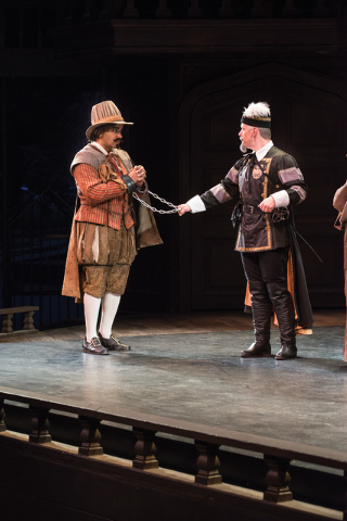 Anthony Simone (left) as Pompey and Jason Michael Spelbring as Elbow in the Utah Shakespeare Festival's 2014 production of Measure for Measure. (Photo by Karl Hugh. Copyright Utah Shakespeare Fe ...