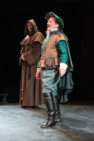 John G. Preston (left) as Vincentio (disguised as Friar Lodovich) and Jonathan Smoots as Lucio in the Utah Shakespeare Festival's 2014 production of Measure for Measure. (Photo by Karl Hugh. Cop ...
