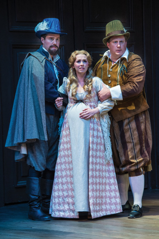 Kyle Eberlein (left) as a Gentleman, Natasha Harris as Juliet, and Michael A. Harding as Froth in the Utah Shakespeare Festival's 2014 production of Measure for Measure. (Photo by Karl Hugh. Cop ...