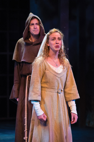 John G. Preston (left) as Vincentio (disguised as Friar Lodovich) and Erika Haaland as Isabella in the Utah Shakespeare Festival's 2014 production of Measure for Measure. (Photo by Karl Hugh. Co ...
