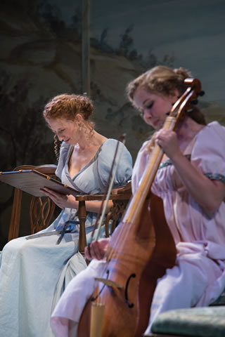 """Sisters Elinor (Cassandra Bissell), left, and Marianne Dashwood (Eva Balistrieri) take opposite approaches to life, and love, in a world premiere adaptation of Jane Austen's """"Sense and Sensibility ..."""