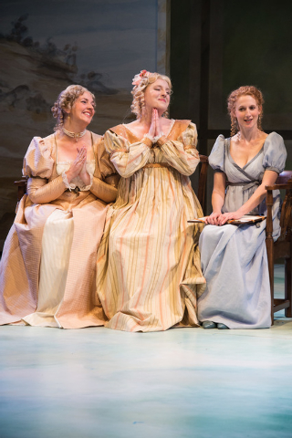 Sarah Greenman (left) as Lady Middleton, Bri Sudia as Charlotte Palmer and Cassandra Bissell as Elinor Dashwood in the Utah Shakespeare Festival's 2014 production of Sense and Sensibility. (Phot ...