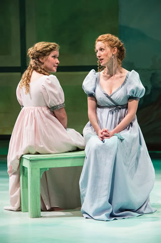 """Sisters Marianne (Eva Balistrieri), left, and Elinor Dashwood (Cassandra Bissell) debate the importance of """"Sense and Sensibility"""" in the Utah Shakespeare Festival's world premiere adaptation of J ..."""