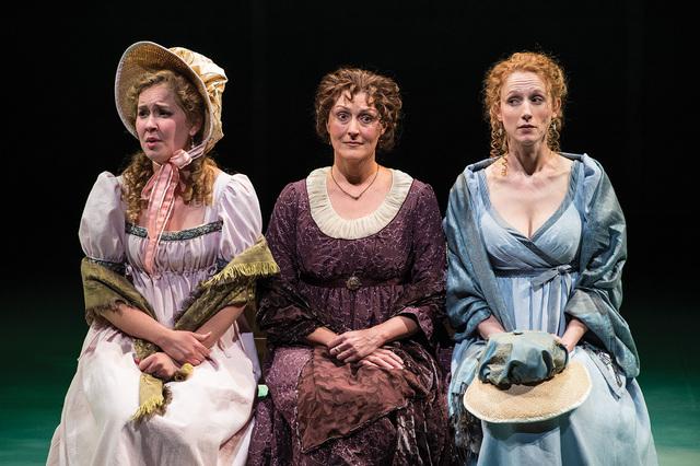 Eva Balistrieri (left) as Marianne Dashwood, Maryann Towne as Mrs. Henry Dashwood, and Cassandra Bissell as Elinor Dashwood in the Utah Shakespeare Festival's 2014 production of Sense and Sensib ...