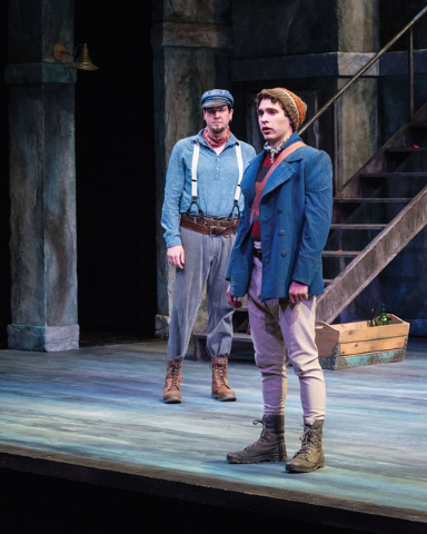 Drew Shirley (left) as Antonio and Zack Powell as Sebastian in the Utah Shakespeare Festival's 2014 production of Twelfth Night. (Photo by Karl Hugh. Copyright Utah Shakespeare Festival 2014.)