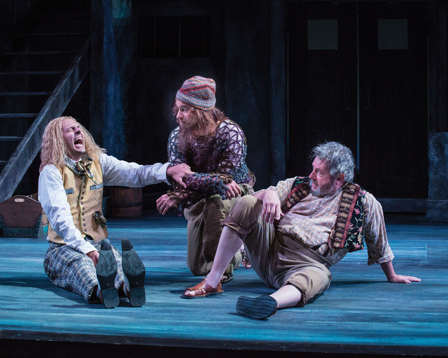 Quinn Mattfeld (left) as Sir Andrew Aguecheek, Aaron Galligan-Stierle as Feste, and Roderick Peeples as Sir Toby Belch in the Utah Shakespeare Festival's 2014 production of Twelfth Night. (Photo ...