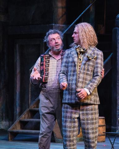 Roderick Peeples (left) as Sir Toby Belch and Quinn Mattfeld as Sir Andrew Aguecheek in the Utah Shakespeare Festival's 2014 production of Twelfth Night. (Photo by Karl Hugh. Copyright Utah Shak ...