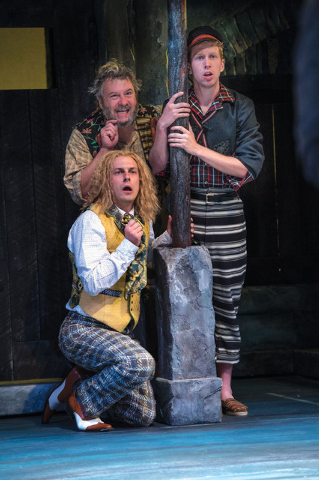 Quinn Mattfeld (bottom left, then clockwise) as Sir Andrew Aguecheek, Roderick Peeples as Sir Toby Belch and Eric Weiman as Fabian in the Utah Shakespeare Festival's 2014 production of Twelfth N ...