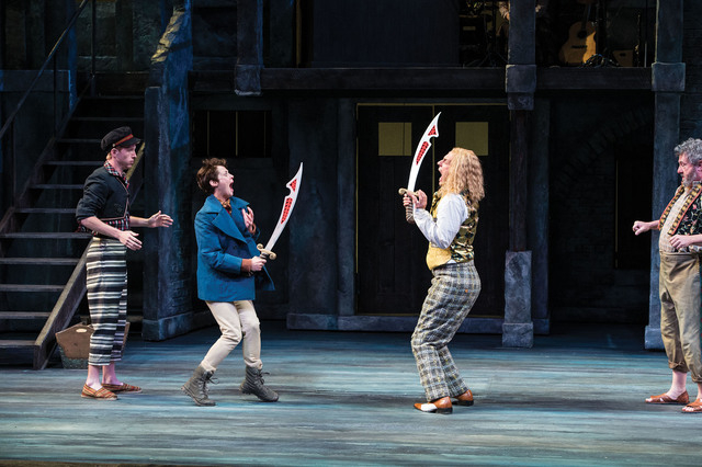 Eric Weiman (left) as Fabian, Nell Geisslinger as Viola (disguised as Cesario), Quinn Mattfeld as Sir Andrew Aguecheek, and Roderick Peeples as Sir Toby Belch in the Utah Shakespeare Festival's  ...