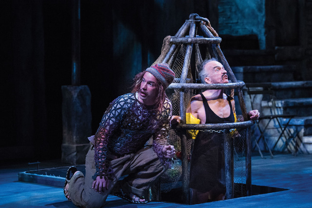 Aaron Galligan-Stierle (left) as Feste and David Pichette as Malvolio in the Utah Shakespeare Festival's 2014 production of Twelfth Night. (Photo by Karl Hugh. Copyright Utah Shakespeare Festiva ...