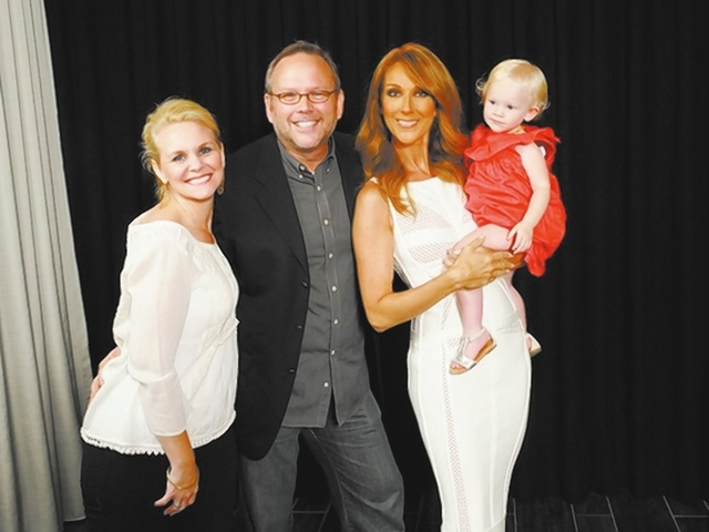 Richard Dunn and Celine Dion meet up after her Fourth of July show at Caesars Palace with Dunn's daughter, Bailey, 2, and his wife, Natasha, left. (Courtesy)