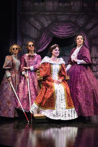 Stepsisters Florinda (Natasha Harris), left, and Lucinda (Molly Wetzel) give up the spotlight to Cinderella  (Tina Scariano), much to the dismay of Cinderella's stepmother (Bri Sudia), right, in m ...
