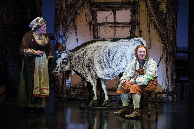 Bree Murphy (left) as Jack's Mother and James Sanders as Jack in the Utah Shakespeare Festival's 2014 production of Into the Woods. (Photo by Karl Hugh. Copyright Utah Shakespeare Festival 2014.)