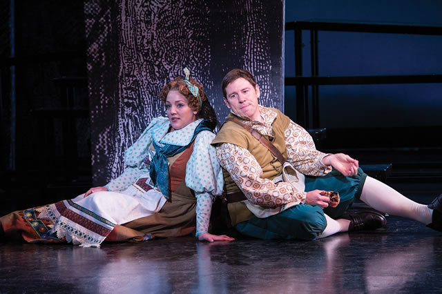 "The Baker's Wife (Melinda Pfundstein), left, and the Baker (Brian Vaughn) contemplate life's complications in ""Into the Woods,"" one of six productions opening Monday at the Utah Shakespeare Festiv ..."