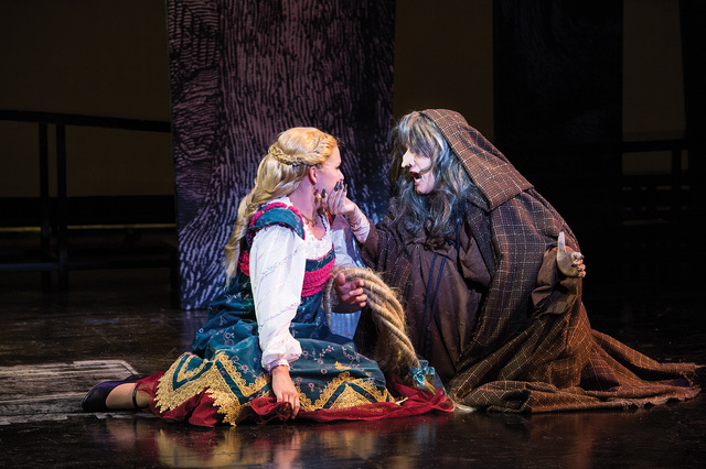 Samantha Allred (left) as Rapunzel and Misty Cotton as Witch in the Utah Shakespeare Festival's 2014 production of Into the Woods. (Photo by Karl Hugh. Copyright Utah Shakespeare Festival 2014.)