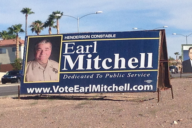 Earl Mitchell billboard (ARNOLD M. KNIGHTLY/LAS VEGAS REVIEW-JOURNAL)