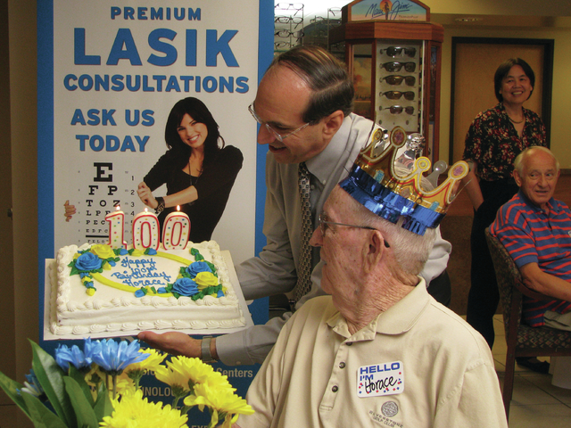 Horace T. Ayres celebrates his 100th birthday June 26 at Nevada Eye Care, 2090 E. Flamingo Road, Suite 100, which regularly honors patients who reach the century mark. Dr. Emil Stein presented the ...