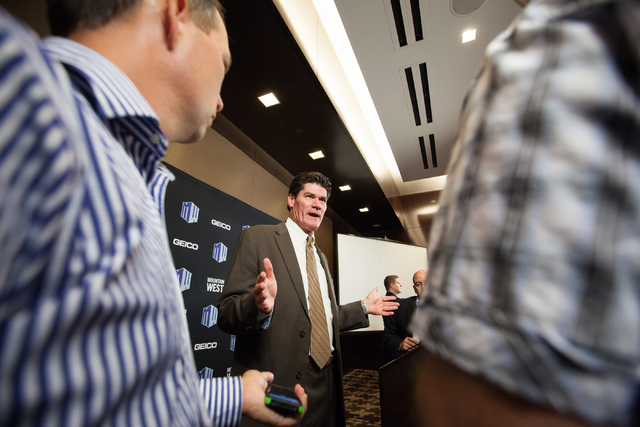 Mountain West Commissioner Craig Thompson speaks with reporters during the Mountain West Conference football media day at the Cosmopolitan hotel-casino Tuesday, July 22, 2014, in Las Vegas. (Chase ...