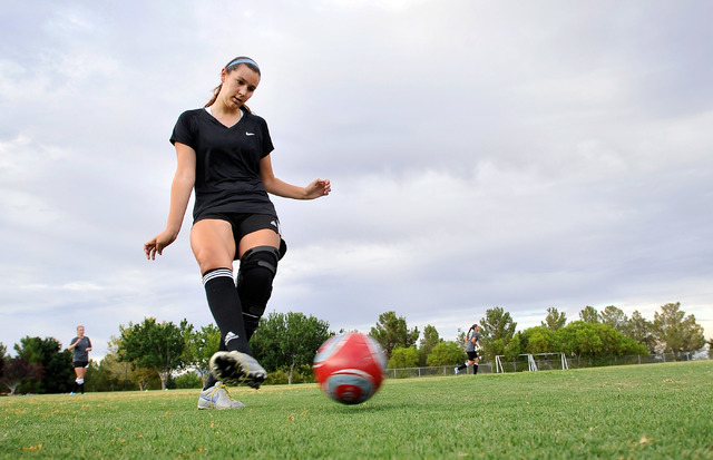 Jaydyn Nogues dribbles the ball during her club soccer practice at Crossing Park on Monday, July 7, 2014. Nogues is returning to the soccer field after suffering a knee injury. (David Becker/Las V ...