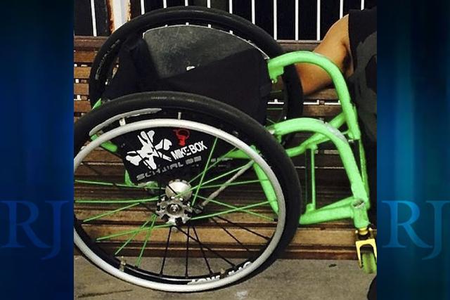 This wheelchair, nicknamed Slammy, was stolen from Aaron Fotheringham in Las Vegas on July 8, 2014. (Aaron Fotheringham/Facebook)