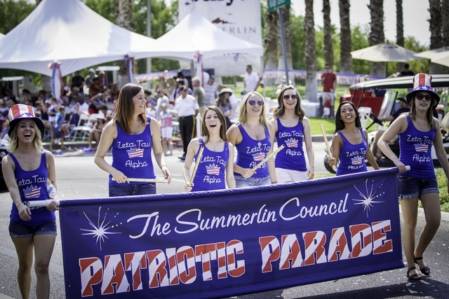 The 2013 Summerlin Council's Patriotic Parade began with an announcement banner. The 2014 parade is set for 9 a.m. July 4. (Special to View)