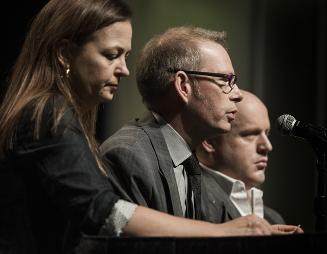 Speakers Jenny Beth Martin, left, co-founder and national coordinator of the Tea Party Patriots, Matt Kibbe, president and CEO of FreedomWorks, and Radley Balko, a journalist who blogs about crimi ...