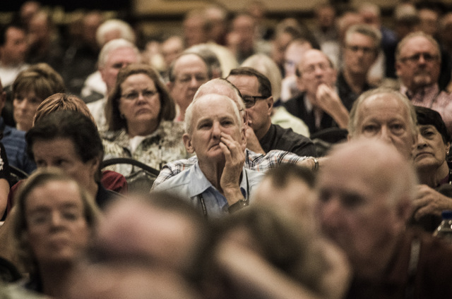 """People listen to panel discussion entitled """"NSA, TSA, IRS: Are Big Brother & the Thought Police Here?""""  during FreedomFest at Planet Hollywood,  3667 S. Las Vegas Boulevard, on Thursday, ..."""