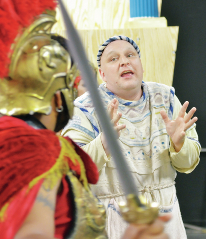 "Carnell Johnson, as Miles Gloriosus, left, and Bruce Block, as Psuedolus, rehearse a scene from ""A Funny Thing Happened on the Way to the Forum"" at the Super Summer Theatre Studios at 4340 S. Vall ..."