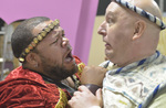 "Carnell Johnson as Miles Gloriosus, left, and Bruce Block as Pseudolus tangle in ""A Funny Thing Happened on the Way to the Forum,"" now being presented at Spring Mountain Ranch State Park. (Bill Hu ..."
