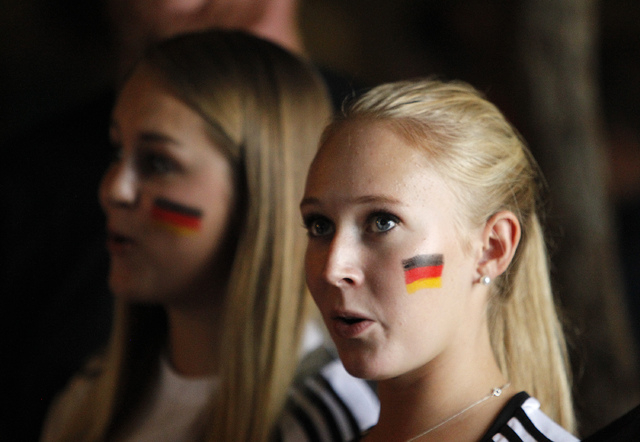 Marie Kamien, of Frankfurt, Germany, watches the World Cup Final between Germany and Argentina at the Hofbräuhaus in Las Vegas on Sunday, July 13, 2014. Germany scored in extra time to win the 20 ...