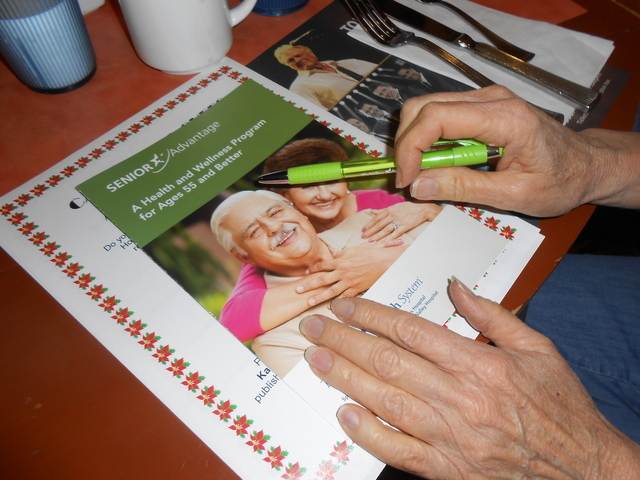 A pamphlet for Valley Health System's Senior Advantage 55+ Program is seen July 9 at the Suncoast's St. Tropez Buffet. It was given out, along with a tip sheet that told the ways in which one co ...